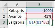 Formel til beregning af avance i Excel