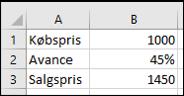 Resultatet af avanceberegningen i Excel