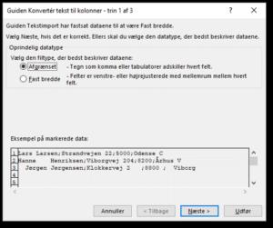 Dialogboks Guiden konvertér tekst til kolonner - trin 1 af 3