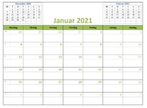Word 2021 kalender i farver