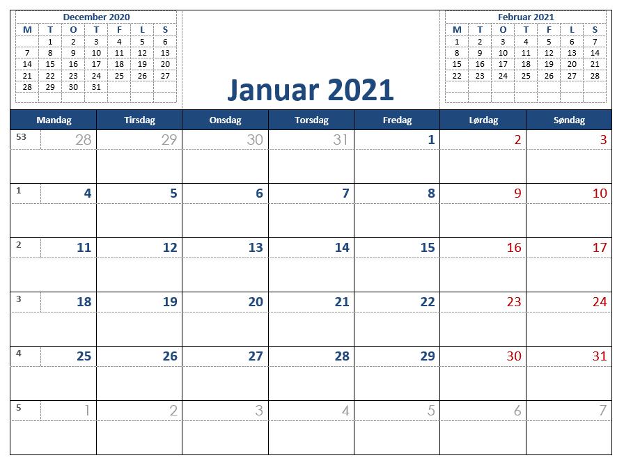 Word Kalender 2021 - Gratis Word Kalender med ugenumre
