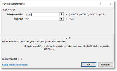 Funktionsboksen til Excel TÆL:HVISER