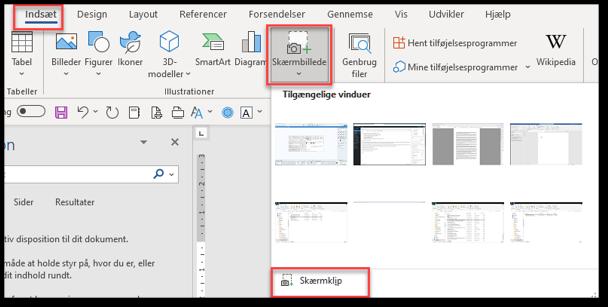 Indsæt pdf i word brug skærmklip og sæt ind som billede