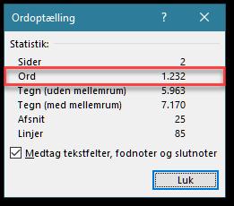 Antallet af ord på side i Word