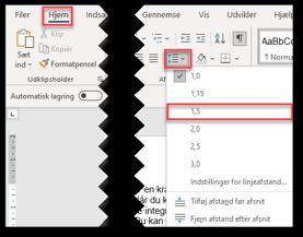 Vælg linjeafstand til folder i Word