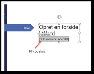 Skriv din tekst i kontrollerne på Microsoft forside i Word