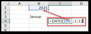 Skriv 1. januar med funktionen DATO