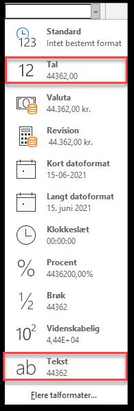 På menuen talformat kan du se at dato gemmes som tal