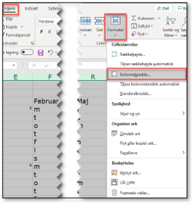 Formater kolonnebredden i kalender i Excel