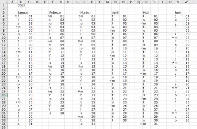 Kalender i Excel efter at ovenstående er udført