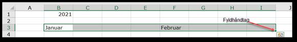 Månedsnavne trækkes ud med Fyldhåndtaget