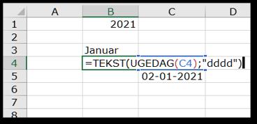 Brug funktionen TEKST til at få vist ugedagens navn i kalender i Excel