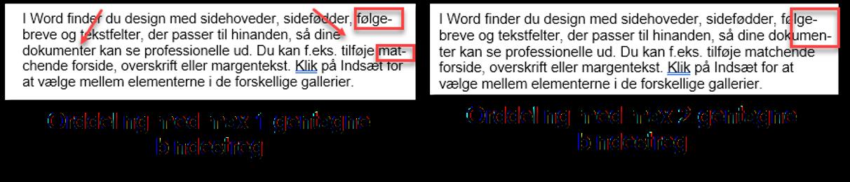 Eksempel med max antal gentagne orddelinger