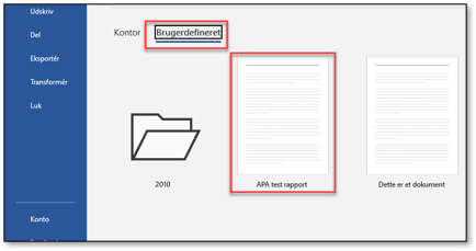 Filer og derefter Ny vælg brugerdefinerede for at vælge din egen skabelon