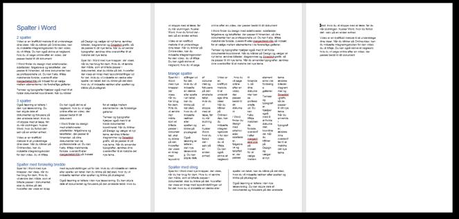 Dokument med forskellige typer spalter