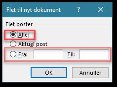 Word brevfeltning dialogboksen flet til nyt dokument