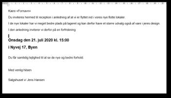 Hoveddokument til mail felt
