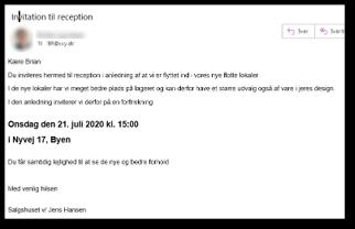 Mail som resultat af flet til mail