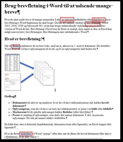 Tekst med markeringer af stave- og grammatikfejl